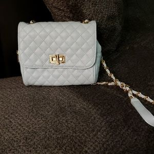 Light blue quilted crossbody